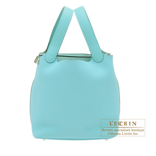 Hermes Picotin Lock Touch bag MM Blue atoll Clemence leather/ Swift leather Silver hardware