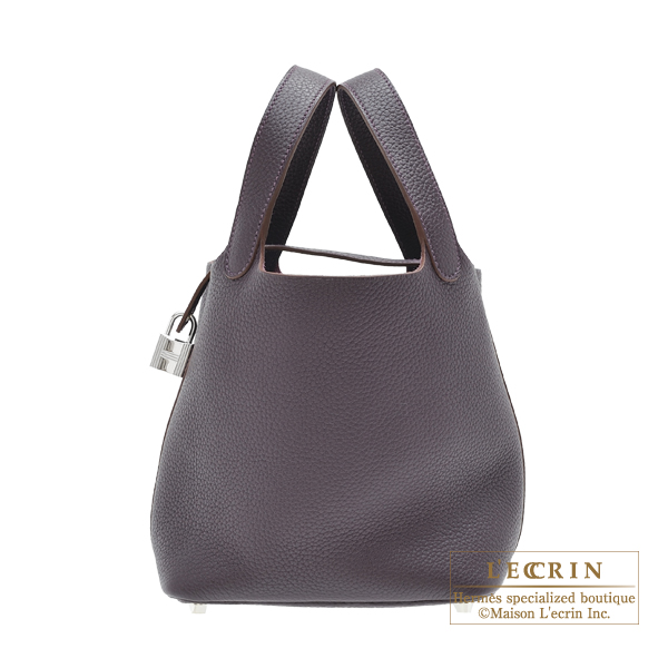 Hermes Picotin Lock bag PM Raisin Clemence leather Silver hardware