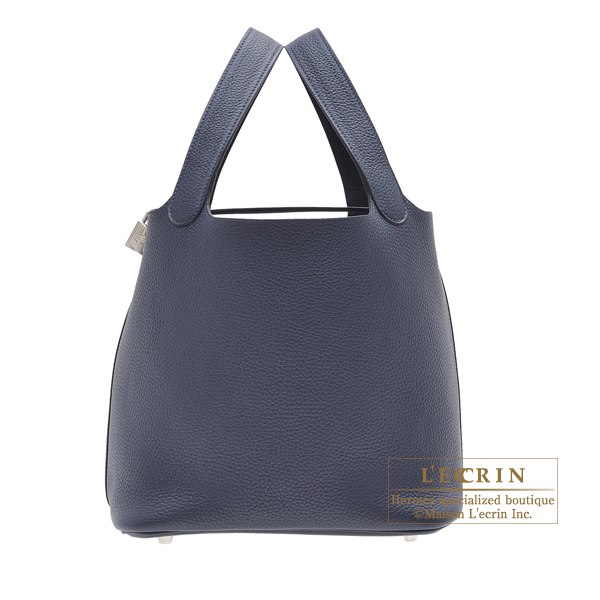 Hermes Picotin Lock bag MM Blue nuit Clemence leather Silver hardware
