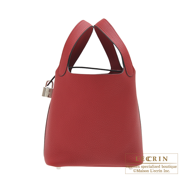 Hermes Picotin Lock bag PM Rouge grenat Clemence leather Silver hardware