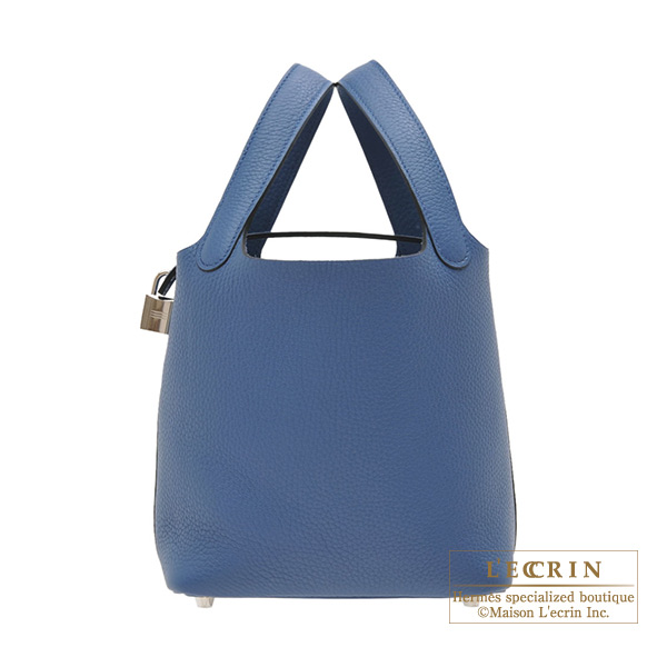 Hermes Picotin Lock bag PM Blue agate Clemence leather Silver hardware