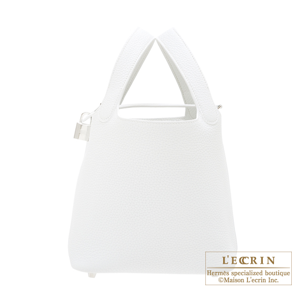 Hermes Picotin Lock bag PM White Clemence leather Silver hardware
