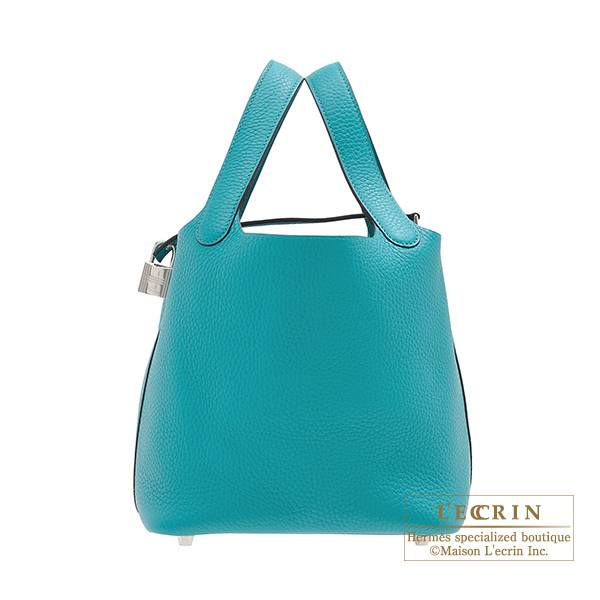 Hermes Picotin Lock bag PM Blue paon Clemence leather Silver hardware