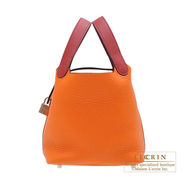 Hermes Picotin Lock Touch bag PM Orange/Rouge grenat Clemence leather/ Swift leather Silver hardware