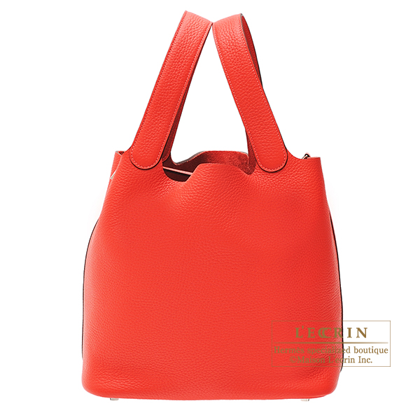 Hermes Picotin Lock bag GM Rouge pivoine Clemence leather Silver hardware