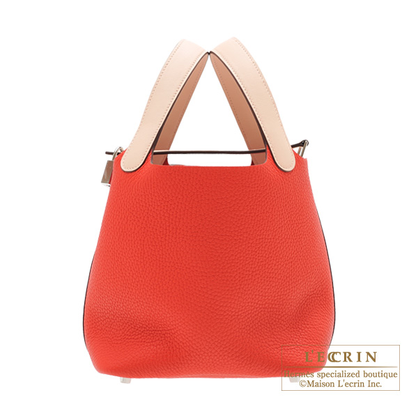 Hermes Picotin Lock Touch bag PM Rouge tomate/Rose eglantine Clemence leather/ Swift leather Silver hardware