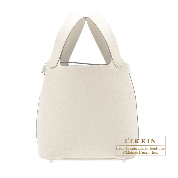 Hermes Picotin Lock Touch bag MM Craie Clemence leather/ Swift leather Silver hardware