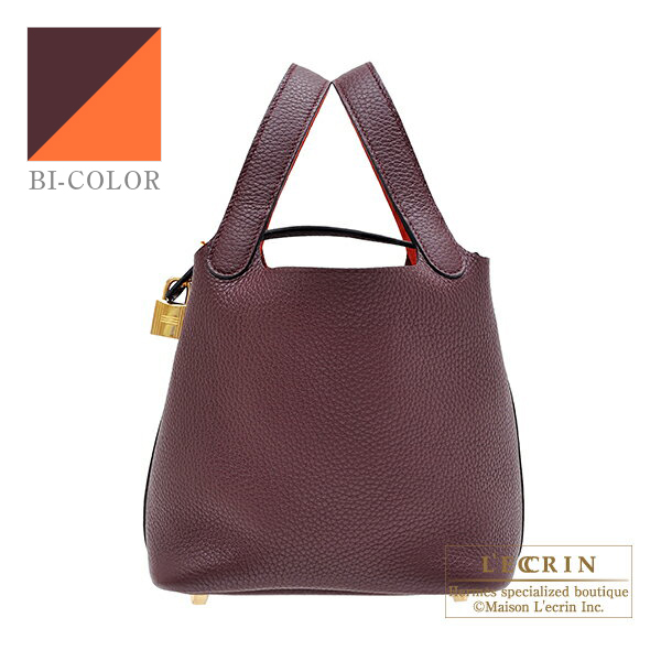 Hermes Picotin Lock Eclat bag PM Prune/ Orange poppy Clemence leather/ Swift leather Gold hardware
