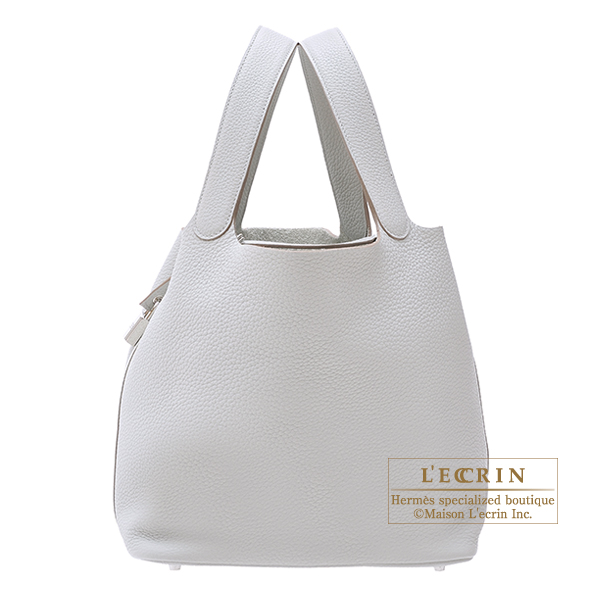 Hermes Picotin Lock bag GM Pearl grey Clemence leather Silver hardware