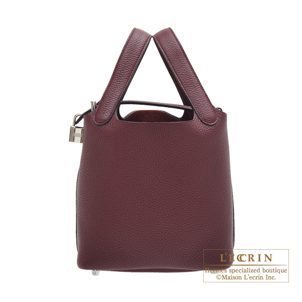 Hermes Picotin Lock bag PM Bordeaux Clemence leather Silver hardware