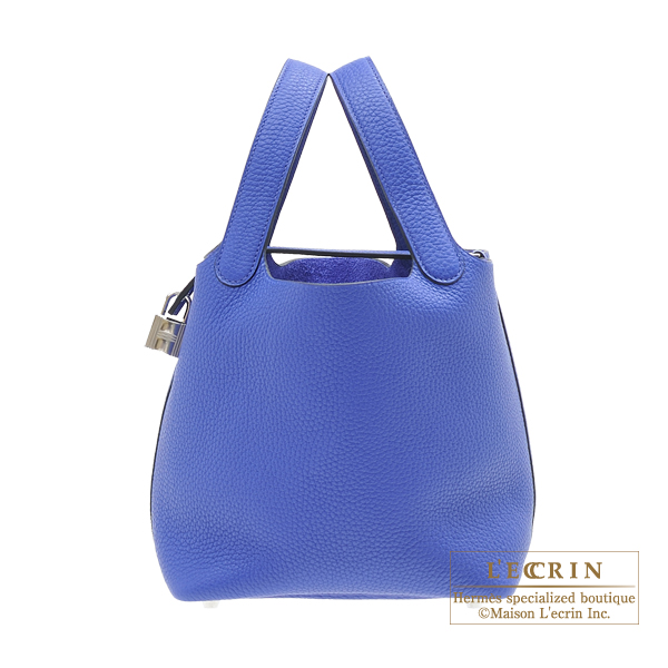 Hermes Picotin Lock bag PM Blue electric Clemence leather Silver hardware
