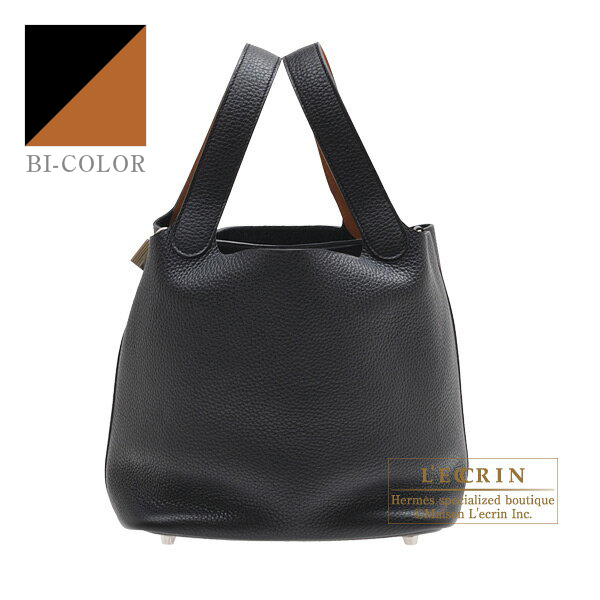 Hermes Picotin Lock Eclat bag MM Black/Toffee Clemence leather/Swift leather Silver hardware