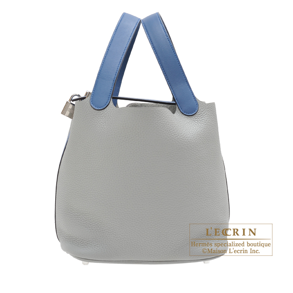Hermes Picotin Lock Touch bag MM Gris mouette/Blue agate Clemence leather/ Swift leather Silver hardware