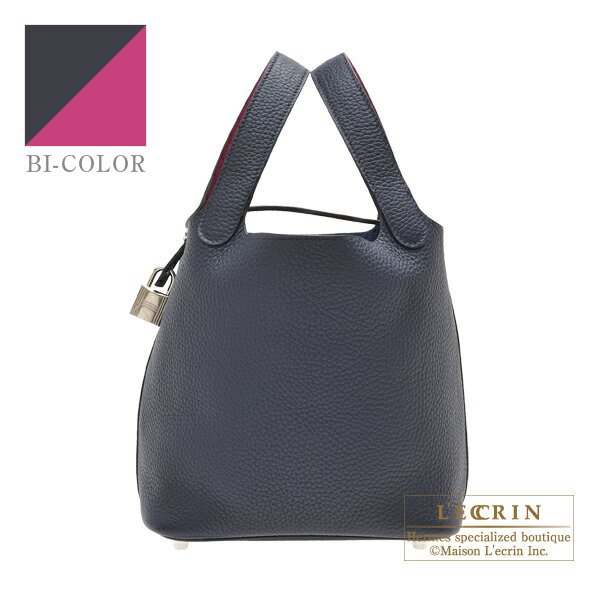 Hermes Picotin Lock Eclat bag PM Blue nuit/ Rose purple Clemence leather/Swift leather Silver hardware