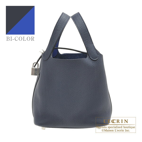Hermes Picotin Lock Eclat bag PM Blue nuit/ Blue electric Clemence leather/Swift leather Silver hardware