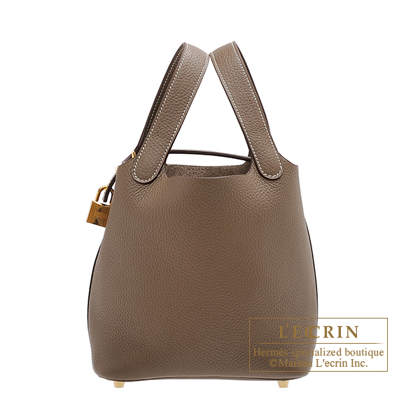 Hermes Picotin Lock bag PM Etoupe grey Clemence leather Gold hardware