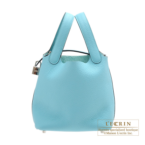Hermes Picotin Lock bag PM Blue atoll Clemence leather Silver hardware