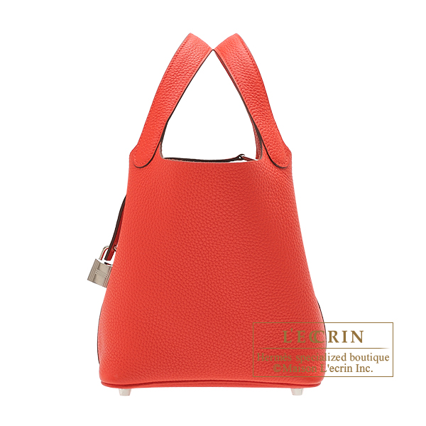 Hermes Picotin Lock bag PM Rouge tomate Clemence leather Silver hardware