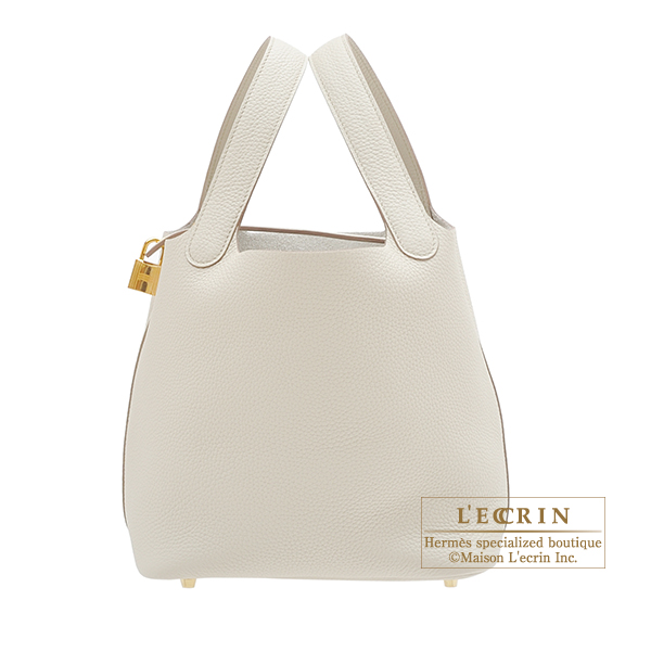 Hermes Picotin Lock bag MM Beton Clemence leather Gold hardware