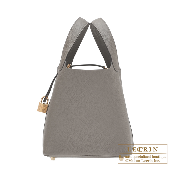 Hermes Picotin Lock bag PM Etain Clemence leather Gold hardware
