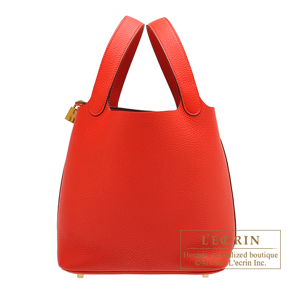Hermes Picotin Lock bag MM Rouge tomate Clemence leather Gold hardware