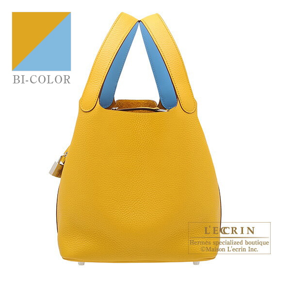 Hermes Picotin Lock Eclat bag MM Jaune ambre/ Celeste Clemence leather/ Swift leather Silver hardware