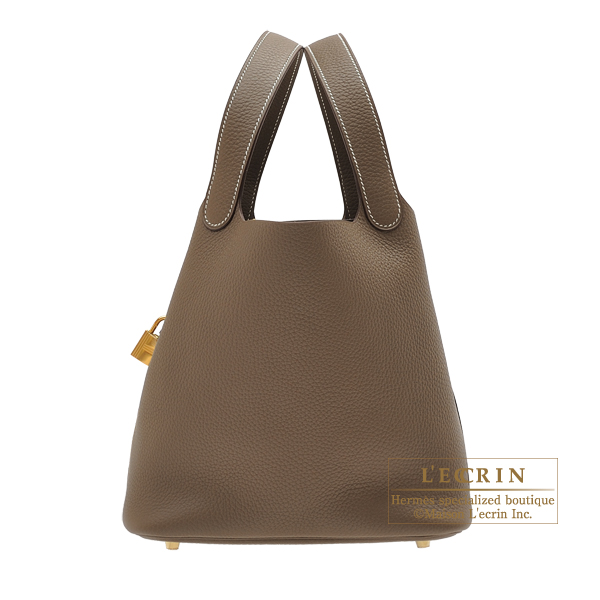Hermes Picotin Lock bag MM Etoupe grey Clemence leather Gold hardware