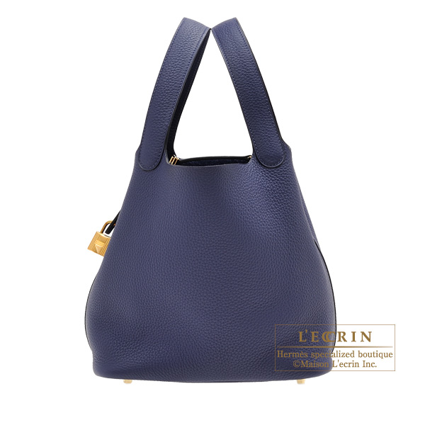 Hermes Picotin Lock bag MM Blue encre Clemence leather Gold hardware