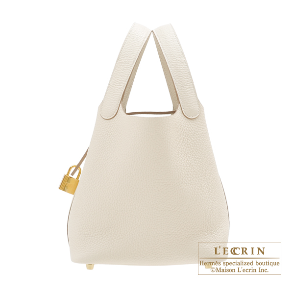 Hermes Picotin Lock bag PM Craie Clemence leather Gold hardware