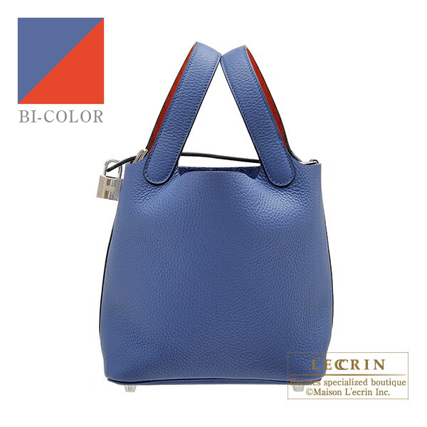 Hermes Picotin Lock Eclat bag PM Blue brighton/ Capucine Clemence leather/Swift leather Silver hardware