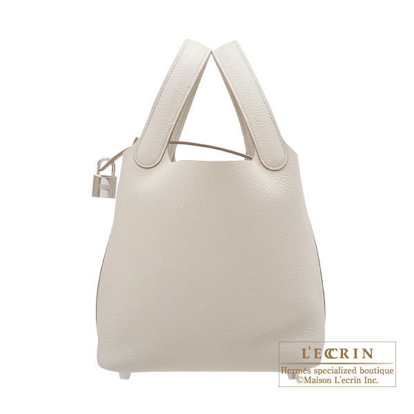 Hermes Picotin Lock bag PM Beton Clemence leather Silver hardware
