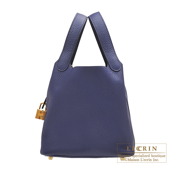 Hermes Picotin Lock bag PM Blue encre Clemence leather Gold hardware