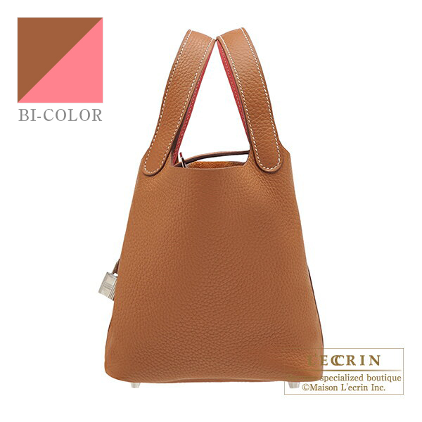 Hermes Picotin Lock Eclat bag PM Gold/ Rose azalee Clemence leather/Swift leather Silver hardware