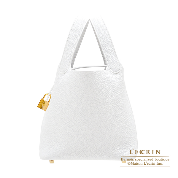 Hermes Picotin Lock bag PM White Clemence leather Gold hardware