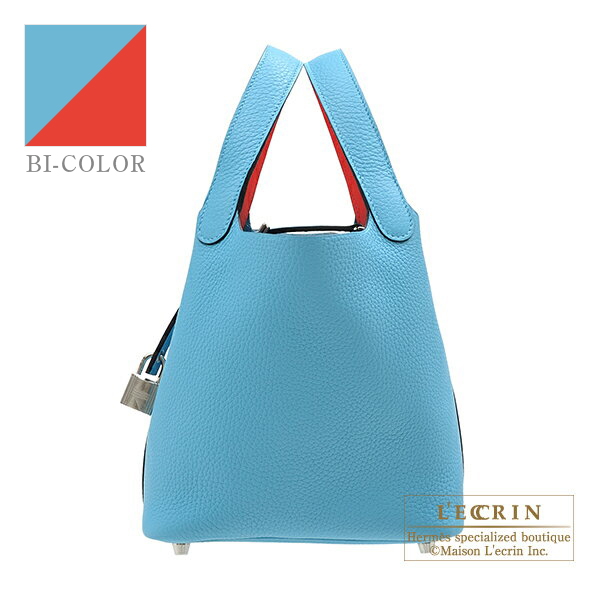 Hermes Picotin Lock Eclat bag PM Blue du nord/ Rouge coeur Clemence leather/Swift leather Silver hardware