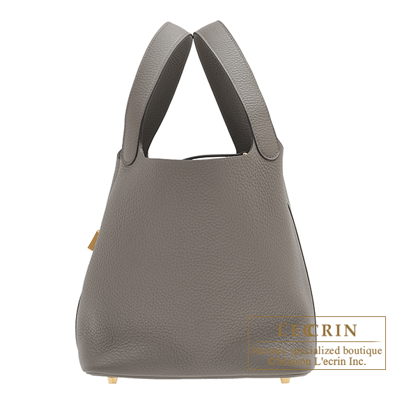Hermes Picotin Lock bag MM Etain Clemence leather Gold hardware