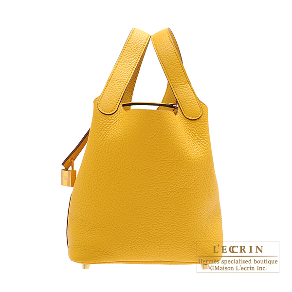 Hermes Picotin Lock bag PM Jaune ambre Clemence leather Gold hardware