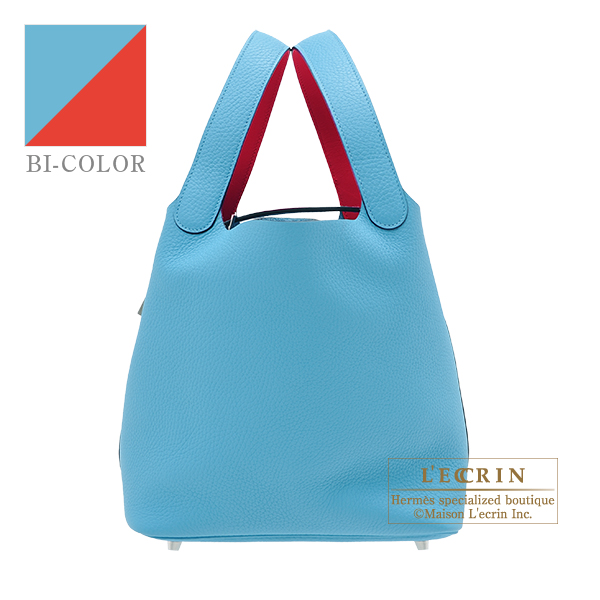 Hermes Picotin Lock Eclat bag MM Blue du nord/ Rouge coeur Clemence leather/ Swift leather Silver hardware