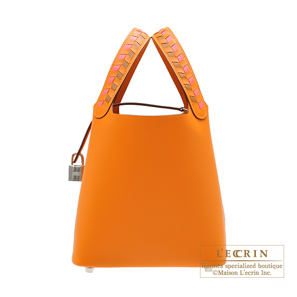 Hermes Picotin Lock Tressage De Cuir bag PM Apricot/Rose azalee/Gold Epsom leather Silver hardware