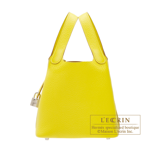Hermes Picotin Lock bag PM Lime Clemence leather Silver hardware