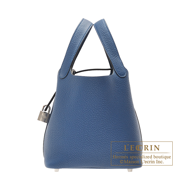 Hermes Picotin Lock bag PM Deep blue Clemence leather Silver hardware