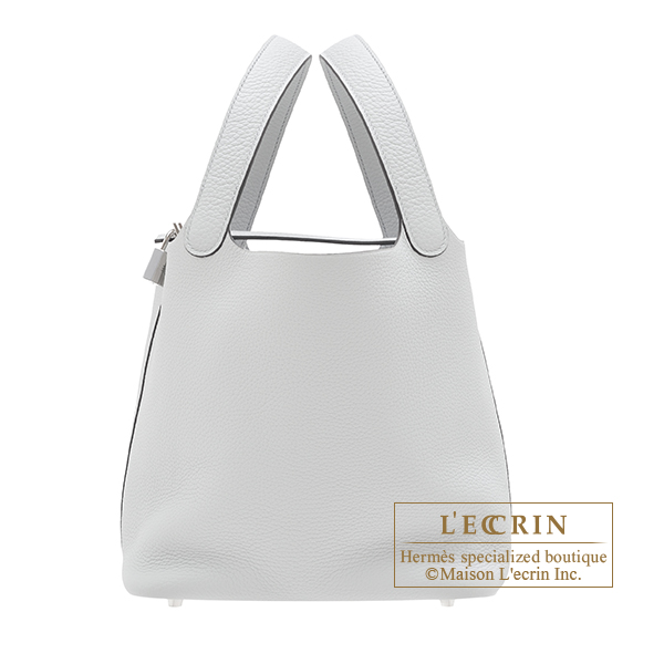 Picotin Lock bag MM Blue pale Clemence leather Silver hardware