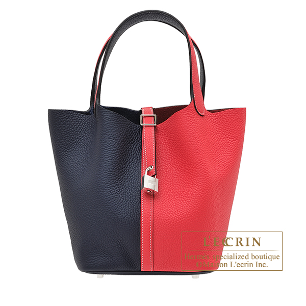 Hermes Picotin Lock casaque bag MM Rose extreme/ Blue nuit Clemence leather Silver hardware