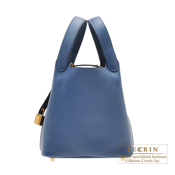 Picotin Lock bag PM Deep blue Clemence leather Gold hardware