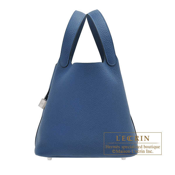 Hermes Picotin Lock bag MM Deep blue Clemence leather Silver hardware