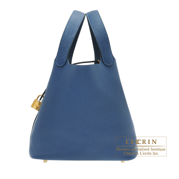 Picotin Lock bag MM Deep blue Clemence leather Gold hardware