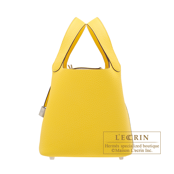 Hermes Picotin Lock bag PM Jaune de naples Clemence leather Silver hardware
