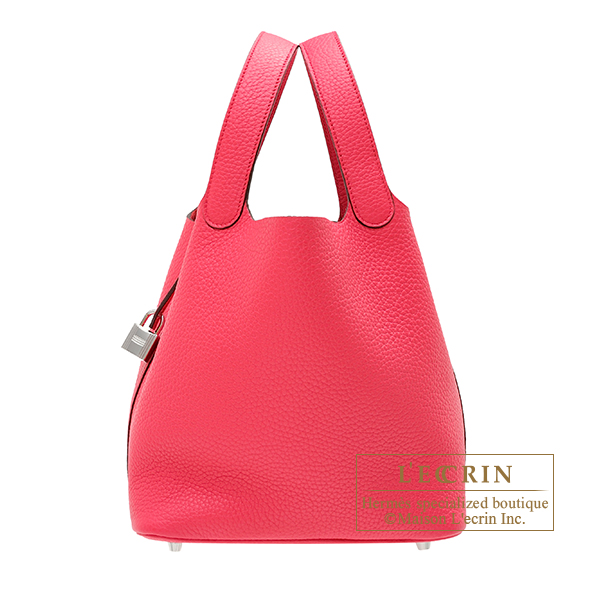 Picotin Lock bag MM Rose extreme Clemence leather Silver hardware