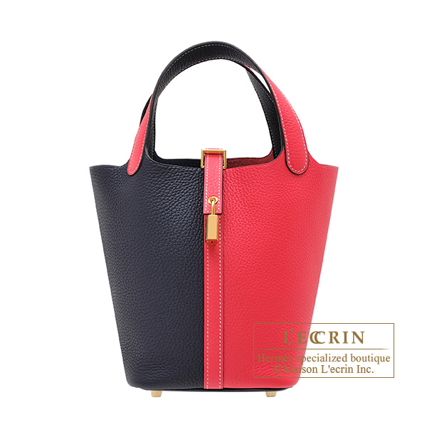 Hermes Picotin Lock casaque bag PM Bi-color Rose extreme/ Blue nuit Clemence leather Gold hardware