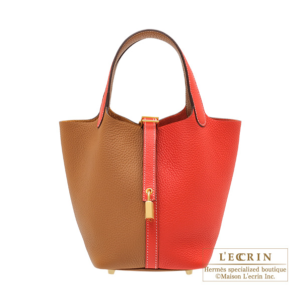 Hermes Picotin Lock casaque bag PM Bi-color Rouge coeur/Gold Clemence leather Gold hardware